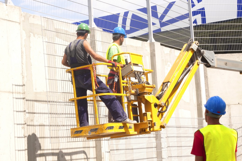 construction workers on the site
