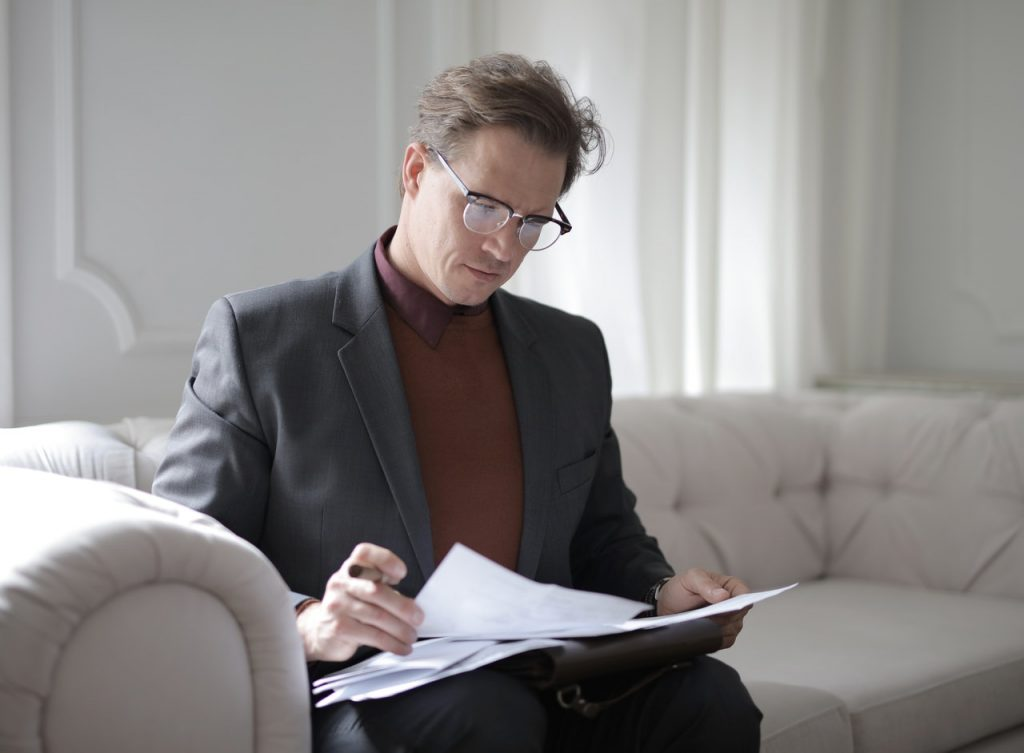 person reading document