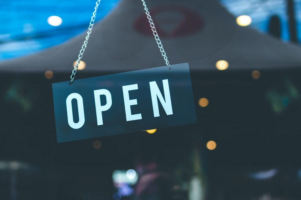open sign on a door